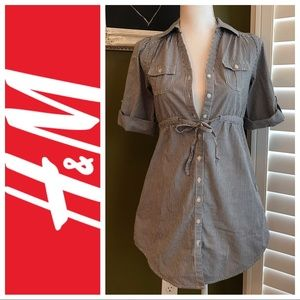 H&M tunic gray pinstripe button tie collar pockets